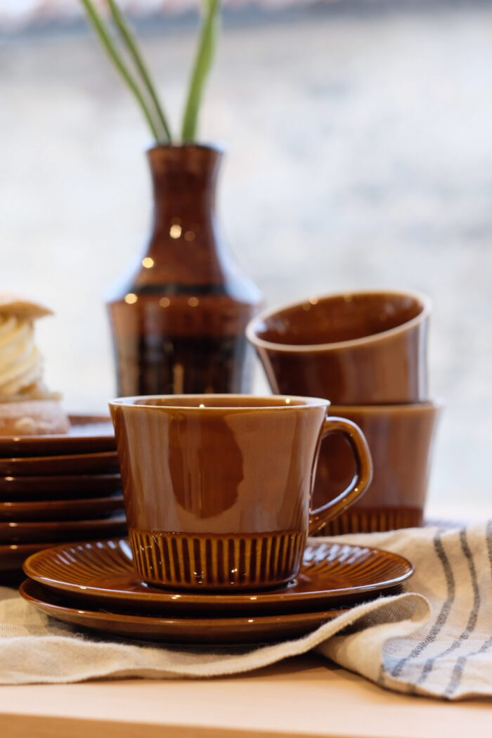 Set of Three Coffee Cups with Saucers