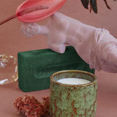 HK living Ceramic Soy Candle Floral boudoir